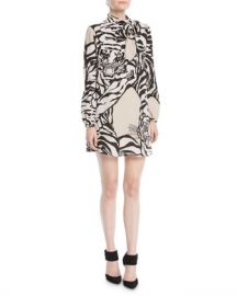 Valentino Long-Sleeve Short Tiger-Print Dress in Georgette Silk at Neiman Marcus