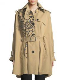 Valentino Long-Sleeve Tiger-Print Cotton Gabardine Cape Jacket at Neiman Marcus