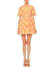 Valentino Mitered-Diamond Print Mini Dress  Coral at Neiman Marcus