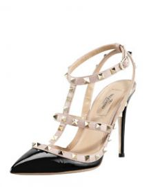 Valentino Rockstud Patent Sandal Black at Neiman Marcus