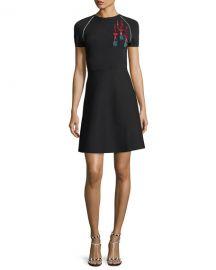 Valentino Short-Sleeve Lipstick-Sequined Stretch Knit Dress   Neiman at Neiman Marcus