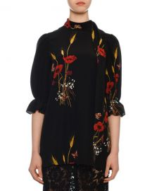 Valentino Short-Sleeve Puff-Shoulder Crepe de Chine Floral-Print Blouse at Neiman Marcus