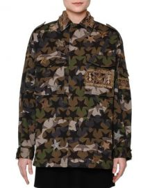 Valentino Star-Embroidered Camouflage Field Jacket  amp  Long-Sleeve at Neiman Marcus