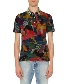 Valentino Tropical-Print Polo Shirt at Neiman Marcus