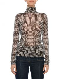 Valentino Turtleneck Long-Sleeve Allover Logo Jersey Top at Neiman Marcus