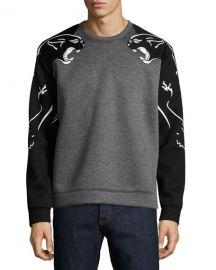 Valentino Two-Tone Panther Sweatshirt  Gray at Neiman Marcus