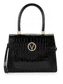 Valentino by Mario Valentino - Melanie Croc-Embossed Leather Top Handle Bag at Saks Off 5th