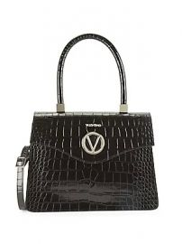 Valentino by Mario Valentino - Melanie Croc-Embossed Leather Top Handle Satchel at Saks Off 5th