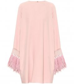 Valentino feather-trimmed silk minidress at Mytheresa