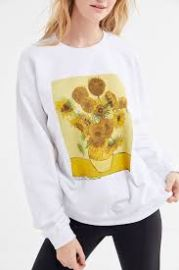 Van Gogh Sunflowers Crew-Neck Pullover Sweatshirt at Urban Outfitters