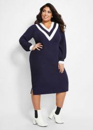Varsity Sweater Dress at Ashley Stewart