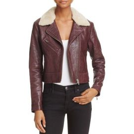 Veda Nova Shearling-Collar Leather Jacket at Bloomingdales
