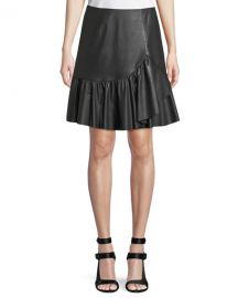Vegan Leather Faux-Wrap Skirt by Rebecca Taylor at Bergdorf Goodman