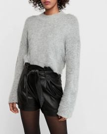Vegan Leather High Waisted Paperbag Shorts at Express