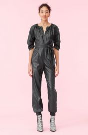 Vegan Leather Jumpsuit at Rebecca Taylor