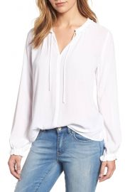 Velvet by Graham Spencer Ruffle Tie Neck Top at Nordstrom