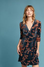 Velvet Burnout Wrap Dress by Eri + Ali at Anthropologie