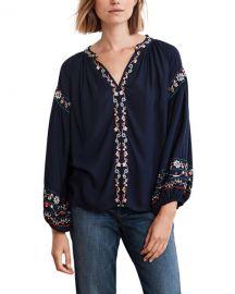 Velvet Embroidered V-Neck Long-Sleeve Top at Neiman Marcus