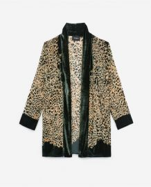 Velvet Print Leopard Embroidery Kimono at The Kooples