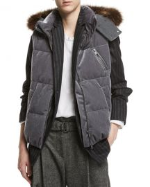Velvet Puffer Vest with Fur-Trim Hood  Brunello Cucinelli at Bergdorf Goodman