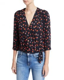 Velvet Rayla Printed 3 4-Sleeve Wrap Top at Neiman Marcus