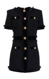 Velvet-Trimmed Frayed Metallic Tweed Mini Dress by Balmain at Moda Operandi