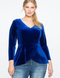Velvet V-Neck Peplum Top by Eloquii at Eloquii