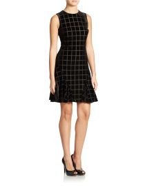 Velvet Window Pane Pattern Dress by Donna Morgan at Lord & Taylor
