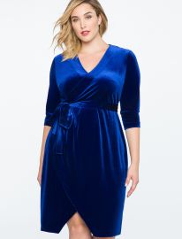 Velvet Wrap Dress by Eloquii at Eloquii
