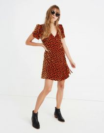 Velvet Wrap Dress in Leopard Dot at Madewell