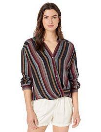 Velvet by Graham & Spencer Nessa Lurex Stripe Blouse at Amazon