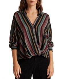Velvet by Graham  amp  Spencer Nessa Twist-Front Striped Shirt  Women - Bloomingdale s at Bloomingdales