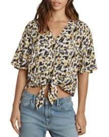Velvet by Graham  amp  Spencer Tie-Front Printed Top Women - Bloomingdale s at Bloomingdales
