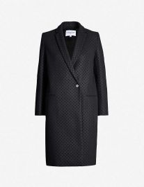 Velvet polka-dot single-breasted wool-blend coat at Selfridges
