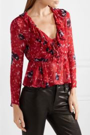 Venecia ruffled printed chiffon blouse by IRO at Net A Porter