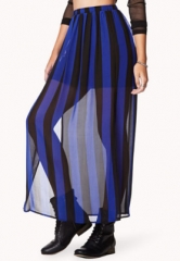 Vented Striped Maxi Skirt in blue at Forever 21
