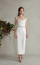 Venus Fitted Jeweled Cami Tea Length Dress by Markarian at Moda Operandi