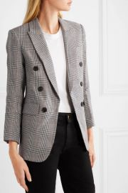 Veronica Beard - Bexley Dickey Prince of Wales checked linen and cotton-blend blazer at Net A Porter