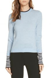Veronica Beard Avory Contrast Cuff Merino Wool Sweater   Nordstrom at Nordstrom
