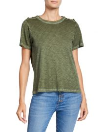 Veronica Beard Carla Short-Sleeve Pima Crewneck Tee with Buttoned Shoulders at Neiman Marcus