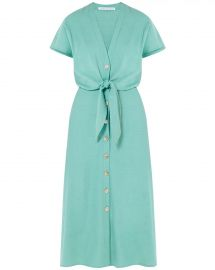Veronica Beard Giana Tie-Front Linen Shirtdress at Neiman Marcus