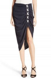 Veronica Beard Marlow Ruched Lace-Up Skirt at Nordstrom