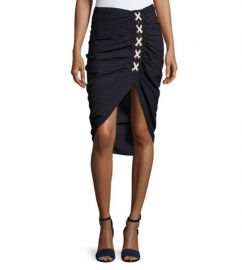 Veronica Beard Marlow Striped Lace-Up Ruched Skirt at Neiman Marcus