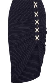 Veronica Beard Marlow ruched striped crepe skirt at Net A Porter