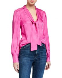 Veronica Beard Nicky Tie-Neck Silk Top at Neiman Marcus