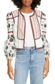 Veronica Beard Shilin Embellished Linen Jacket   Nordstrom at Nordstrom