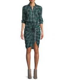 Veronica Beard Sierra Gathered Plaid Button-Front Shirtdress at Neiman Marcus