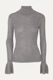Veronica Beard - Lilia metallic ribbed-knit turtleneck sweater at Net A Porter