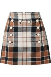 Veronica Beard - Ording button-detailed checked cotton and flax-blend mini skirt at Net A Porter