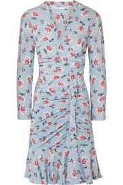 Veronica Beard   Rowe gathered floral-print silk crepe de chine mini dress at Net A Porter